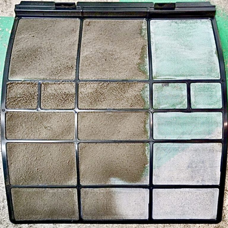 Air conditioner filter before and after sanitation